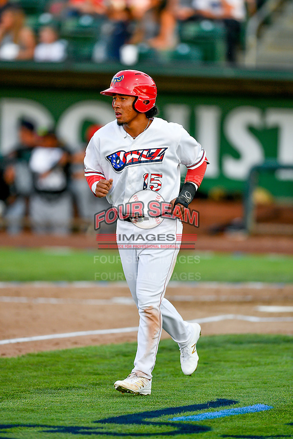 Pioneer League All-Star Jahmai Jones (15) of the Orem Owlz in action against the Northwest League All-Stars at the 2nd Annual Northwest League-Pioneer League All-Star Game at Lindquist Field on August 2, 2016 in Ogden, Utah. The Northwest League defeated the Pioneer League 11-5. (Stephen Smith/Four Seam Images)