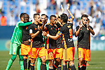 Valencia CF's players Diego Alves, Eliaquim Mangala, Rodrigo Moreno, Luis Nani, Martin Montoya, Enzo Perez and Munir El Haddadi celebrate the victory in La Liga match. September 25,2016. (ALTERPHOTOS/Acero)