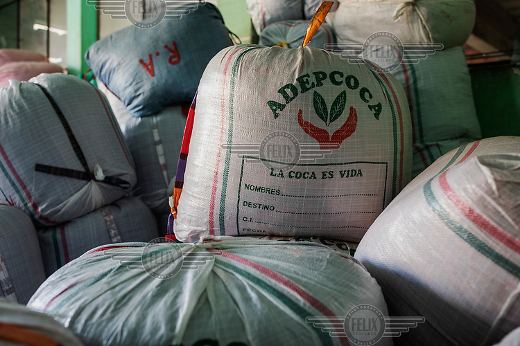 Sacks of coca leaves stored in a room within the coca market in the Villa Fatima neighbourhood.<br /><br />Former President and former coca farmer Evo Morales, forced the American DEA to leave Bolivia and introduced a policy of legal coca farming while maintaining strong enforcement of drug laws to combat the illegal production of cocaine. As a consequence the area under coca production has remained constant and the murder rate in Bolivia remains one of the lowest in Latin America. The Bolivian experience is at odds with the other two major producers Colombia and Peru which have had little success in suppressing coca production which continues to expand, while murder rates in both countries remains high.