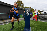 illustration picture showing Brugge's Saar Verdonck passing the Scooore Super League ball holder with logo during a female soccer game between Club Brugge Dames YLA and Zulte Waregem Ladies on the third matchday of the 2020 - 2021 season of Belgian Scooore Womens Super League , saturday 3 October 2020  in Brugge , Belgium . PHOTO SPORTPIX.BE | SPP | DAVID CATRY