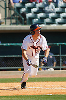 University of Virginia Cavaliers outfielder Adam Haseley (7) at bat during a game against the Liberty University Flames at Joseph P. Riley Ballpark on February 17, 2017 in Charleston, South Carolina. Virginia defeated Liberty 10-2. (Robert Gurganus/Four Seam Images)