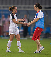 Erin McLeod, Christie Rampone. The USWNT defeated Canada in extra time, 2-1, during the 2008 Beijing Olympics in Shanghai, China.