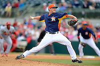 Houston Astros pitcher Paul Clemens #72 during a Spring Training game against the St. Louis Cardinals at Osceola County Stadium on March 1, 2013 in Kissimmee, Florida.  The game ended in a tie at 8-8.  (Mike Janes/Four Seam Images)