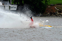 Frame 21: 300-P comes together with 911-Q, turns away and then is ejected from the boat.   (Outboard Hydroplanes)