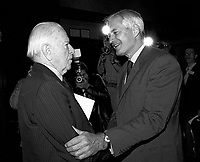 Montreal (Qc) CANADA - May 13 1984-<br /> Candidate John Turner (R) at Liberal Party of Canada leadership debate at Montreal's Queen Elizabeth Hotel.<br /> <br /> <br /> John Turner, candidat a  la Chefferie du PLC, lors du debat a l Hotel Reine Elizabeth de Montreal, le 13 Mai 1984