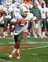 Oct 30, 2010; Charlottesville, VA, USA;   Miami Hurricanes quarterback Stephen Morris (17) scrambles with the ball during the game against the Virginia Cavaliers at Scott Stadium. Virginia won 24-19. Mandatory Credit: Andrew Shurtleff