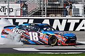 2017 NASCAR XFINITY Series - Rinnai 250<br /> Atlanta Motor Speedway, Hampton, GA USA<br /> Saturday 4 March 2017<br /> Kyle Busch, NOS Energy Drink Toyota Camry celebrates his win with a burnout<br /> World Copyright: Nigel Kinrade/LAT Images<br /> ref: Digital Image 17ATL1nk05581