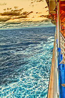 Cruise ship evening deck view.
