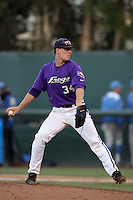 Andrew Mitchell #34 of the TCU Horned Frogs pitches against the UCLA Bruins during the Los Angeles super regionals at Jackie Robinson Stadium on June 9, 2012 in Los Angeles,California. UCLA defeated TCU 4-1.(Larry Goren/Four Seam Images)