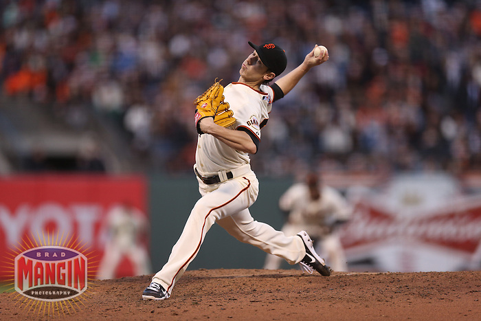 SAN FRANCISCO, CA - AUGUST 24:  Tim Lincecum #55 of the San Francisco Giants pitches against the Pittsburgh Pirates during the game at AT&T Park on Saturday, August 24, 2013 in San Francisco, California. Photo by Brad Mangin
