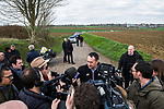 Race Director Thierry Gouvenou ASO talks to the media during the reconaissance of the pave sectors before the 2018 Paris-Roubaix. 3rd April 2018.<br /> Picture: ASO/P.Ballet | Cyclefile<br /> <br /> <br /> All photos usage must carry mandatory copyright credit (© Cyclefile | ASO/Pauline Ballet)