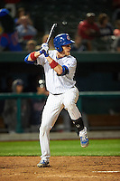 South Bend Cubs catcher Cael Brockmeyer (9) at bat during a game against the Cedar Rapids Kernels on June 5, 2015 at Four Winds Field in South Bend, Indiana.  South Bend defeated Cedar Rapids 9-4.  (Mike Janes/Four Seam Images)