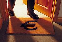 Man walking through door on to a doormat with ? Euro symbol on it
