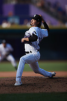 Winston-Salem Dash relief pitcher Caleb Freeman (31) in action against the Hickory Crawdads at Truist Stadium on July 10, 2021 in Winston-Salem, North Carolina. (Brian Westerholt/Four Seam Images)