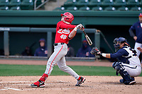 Right fielder Kade Kern (46) of the Ohio State Buckeyes in a game against the Illinois Fighting Illini on Friday, March 5, 2021, at Fluor Field at the West End in Greenville, South Carolina. The Illinois catcher is Ryan Hampe. (Tom Priddy/Four Seam Images)