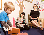 April 7, 2017. Durham, North Carolina.<br /> <br /> Nido owners Lis Tyroler, center, and Tiff Frye, right, with Tyroler's children Sebastian Tyroler Romine, left, and Desmond Romine Tyroler in the on site daycare center. <br /> <br /> Nido is a co-working space which also offers a Montessori preschool on site. Catering to working parents with morning and afternoon preschool shifts, Nido has thrived and is actively looking for a larger space. <br /> <br /> <br /> <br /> Jeremy M. Lange for The New York TImes