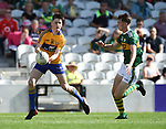 Mark McInerney of Clare in action against Séan Quilter of Kerry during their Munster Minor football final at Pairc Ui Chaoimh. Photograph by John Kelly.