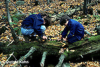 DT02-053z  Forest - girl and boy collecting organisms from soil, log