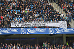 05.10.2019,  GER; 2. FBL, Hamburger SV vs SpVgg Greuther Fuerth ,DFL REGULATIONS PROHIBIT ANY USE OF PHOTOGRAPHS AS IMAGE SEQUENCES AND/OR QUASI-VIDEO, im Bild Feature die Fans des HSV zeigen Plakate Foto © nordphoto / Witke