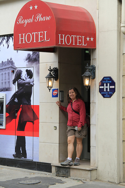 Beth at the Royal Phare Hotel, Paris, France.