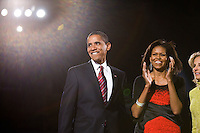 President-elect Barack Obama with wife Michelle Obama at the election night rally in Chicago...Photo by Brooks Kraft/Corbis........