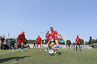 CARY, NC - SEPTEMBER 12: Meredith Speck #25, Brittany Ratcliffe #27, Amy Rodriguez #12, Lindsay Agnew #20, and Taylor Smith #2 of the North Carolina Courage play a small sided game before a game between Portland Thorns FC and North Carolina Courage at Sahlen's Stadium at WakeMed Soccer Park on September 12, 2021 in Cary, North Carolina.