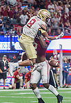Alabama's Tony Brown shoves Florida State wide receiver Nyqwan Murry as the pass arrives near the end zone in the first half of the Chick-fil-A Kickoff game at the new Mercedes-Benz Stadium in Atlanta, Georgia on September 2, 2017.   Photo by Mark Wallheiser/UPI