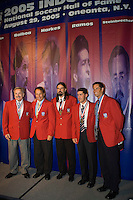 The 2005 inductees to the National Soccer Hall of Fame pose for photographers after the induction ceremony. From left to right, Hank Steinbrecher, Fernando Clavijo, Marcelo Balboa, Tab Ramos, and John Harkes. Wright Soccer Campus, Oneonta, NY, on August  29, 2005.