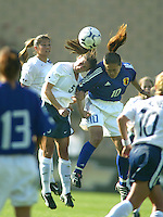 Tiffany Roberts battles for a head ball with Japan's Homare Sawa during a 0-0 tie in San Diego, Calif.,  January 12, 2003.