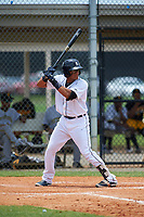 GCL Tigers West Bryan Tejeda (39) bats during a game against the GCL Pirates on July 17, 2017 at TigerTown in Lakeland, Florida.  GCL Tigers West defeated the GCL Pirates 7-4.  (Mike Janes/Four Seam Images)