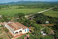 Former sugar cane plantation Manaca-Iznaga with the Escambray Sierra in the distance, Valle De Los Ingenios, Cuba.