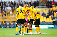 2nd October 2021;  Molineux Stadium, Wolverhampton,  West Midlands, England; EFL Cup football, Wolverhampton Wanderers versus Newcastle United; Wolverhampton Wanderers players line up in a defensive  wall for a free kick