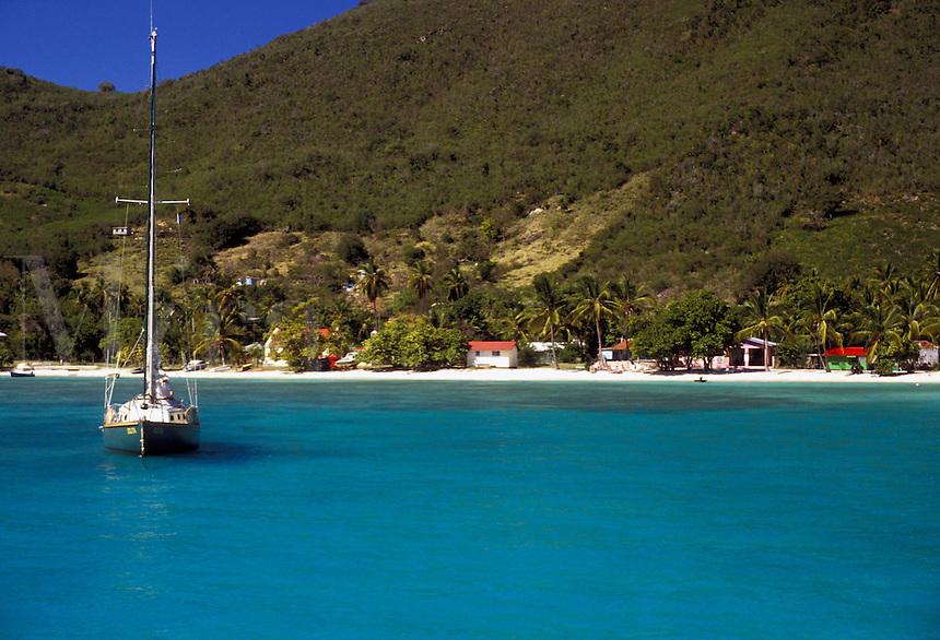 AJ2369, British Virgin Islands, Jost Van Dyke, Caribbean, Virgin Islands, B.V.I., BVI, Sailboat buoyed on the calm blue green waters of Great Harbor on the island of Jost Van Dyke on the British Virgin Islands.