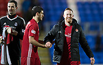 St Johnstone v Aberdeen…13.12.17…  McDiarmid Park…  SPFL<br />Adam Rooney celebrates with Anthony O'Connor at full time<br />Picture by Graeme Hart. <br />Copyright Perthshire Picture Agency<br />Tel: 01738 623350  Mobile: 07990 594431