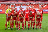 team Standard ( Goalkeeper Lisa Lichtfus (16) , Constance Brackman (20) , Loredana Humartus (33) , Sylke Calleeuw (9) , Lisa Petry (21) , Aster Janssens (5) and Noemie Gelders (10) , Charlotte Cranshoff (18) , Davinia Vanmechelen (25) , Yuna Appermont (6) , Gwyneth Vanaenrode (3) ) pictured before a female soccer game between Standard Femina de Liege and AA Gent Ladies on the 6th matchday in play off 1 of the 2020 - 2021 season of Belgian Scooore Womens Super League , tuesday 11 th of May 2021  in Liege , Belgium . PHOTO SPORTPIX.BE   SPP   STIJN AUDOOREN
