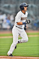 Northern Division third baseman Angel Aguilar (2) of the Charleston RiverDogs runs to first base during the South Atlantic League All Star Game at Spirit Communications Park on June 20, 2017 in Columbia, South Carolina. The game ended in a tie 3-3 after seven innings. (Tony Farlow/Four Seam Images)