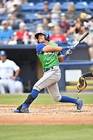 Lexington Legends shortstop Angelo Castellano (1) swings at a pitch during a game against the Asheville Tourists at McCormick Field on May 29, 2017 in , North Carolina. The Legends defeated the Tourists 6-2. (Tony Farlow/Four Seam Images)