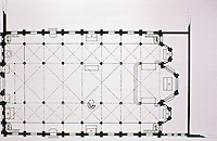 Plan of St. Eugene Church, Paris, 1854-56 by Louis Auguste Boileau. Gothic Revival.