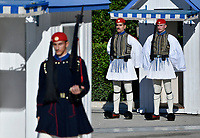Pictured: Presidential Guards or Tsoliades at the Unknown Soldier Monument outside the Greek Parliament in Syntagma Square.<br /> Re: Turkey's president Recep Tayyip Erdogan has begun a landmark visit to Greece. Thursday 07 December 2017