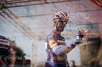 Later winner Julian ALAPHILIPPE (FRA/Deceuninck-Quick Step) at the sign-on podium at the race start in front of the Castello Sforzesco<br /> <br /> 110th Milano-Sanremo 2019 (ITA)<br /> One day race from Milano to Sanremo (291km)<br /> <br /> ©kramon