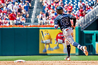 9 July 2017: Atlanta Braves infielder Johan Camargo rounds the bases after hitting a solo home run to lead off the 6th inning against the Washington Nationals at Nationals Park in Washington, DC. The Nationals defeated the Braves to split their 4-game series. Mandatory Credit: Ed Wolfstein Photo *** RAW (NEF) Image File Available ***