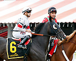 Stallwalkin' Dude (no. 6) wins the Tale of the Cat Stakes  August 11 at Saratoga Race Course, Saratoga Springs, NY.  The winner, ridden by Joe Bravo and trained by David Jacobson, won a stretch duel with Loose On the Town by a head in the 6 furlong race against 6 opponents.  (Bruce Dudek/Eclipse Sportswire)