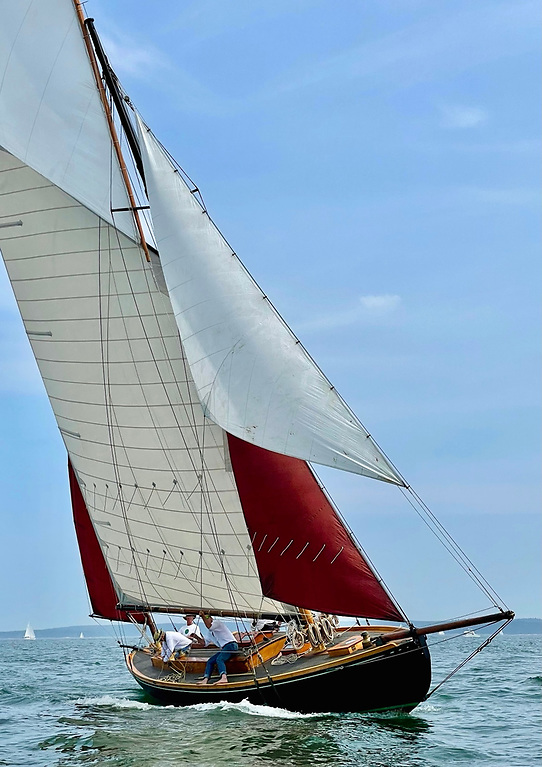 Mavis in 2021, second in last Saturday's Eggemoggin Reach Race out of Brooklin in Maine - her first race since restoration. In time, the sailplan will be completed in traditional materials to match her 1928 appearance.