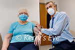 Betty Moody from Moyvane after receiving her Covid-19 vaccination from Dr John Buckley at the Ivy Clinic in Listowel on Tuesday.