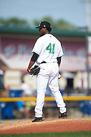 Clinton LumberKings pitcher Ronald Dominguez (41) looks in for the sign during a game against the Great Lakes Loons on August 16, 2015 at Ashford University Field in Clinton, Iowa.  Great Lakes defeated Clinton 3-2.  (Mike Janes/Four Seam Images)