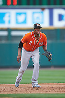 Norfolk Tides third baseman Michael Almanzar (2) during a game against the Rochester Red Wings on July 17, 2016 at Frontier Field in Rochester, New York.  Rochester defeated Norfolk 3-2.  (Mike Janes/Four Seam Images)