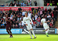 Pictured: Michu (C).<br /> Saturday 04 May 2013<br /> Re: Barclay's Premier League, Swansea City FC v Manchester City at the Liberty Stadium, south Wales.