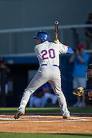 Ian Strom (20) of the Kingsport Mets at bat against the Danville Braves at American Legion Post 325 Field on July 9, 2016 in Danville, Virginia.  The Mets defeated the Braves 10-8.  (Brian Westerholt/Four Seam Images)