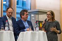 """Buchvorstellung """"Unter Sachsen - Zwischen Wut und Willkommen"""" in Berlin.<br /> Der Sammelband aus dem Christoph Links-Verlag zum Thema Rassismus und rechter Gewalt im Freistaat Sachsen, herausgegeben von der freien Journalistin Heike Kleffner und dem Tagesspiegel-Redakteur Matthias Meisner, wurde am Donnerstag den 30. Maerz 2017 in Berlin vorgestellt.<br /> Auf dem Podium diskutierten der saechsische Vize-Ministerpraesident Martin Dulig (SPD), der saechsische CDU-MdB Marco Wanderwitz, die Linken-Chefin Katja Kipping gemeinsam mit dem Verleger Christoph Link, den Herausgebern Heike Kleffner und Matthias Meisner sowie zwei der 40 Autoren - Michael Bittner und Imran Ayata - ueber das Buch.<br /> In dem Buch suchen die Herausgeber Antworten auf die Frage warum und wie es zu den """"saechsischen Verhaeltnissen"""" kommen konnte. Mit 477 offiziell dokumentierten  fremdenfeindlich motivierte Gewalttaten im Jahr 2015 liegt Sachsen, in Bezug auf die Einwohnerzahl, bundesweit an der Spitze.<br /> Die Landesvertretung des Freistaat Sachsen hatte es abgelehnt die Buchvorstellung in ihren Raeumen stattfinden zu lassen, so dass der Verlag den Sammelband vor ca. 250 Gaesten in der Landesvertretung Thueringen praesentierte.<br /> Im Bild vlnr.: Marco Wanderwitz, Matthias Meisner, Heike Kleffner.<br /> 30.3.2017, Berlin<br /> Copyright: Christian-Ditsch.de<br /> [Inhaltsveraendernde Manipulation des Fotos nur nach ausdruecklicher Genehmigung des Fotografen. Vereinbarungen ueber Abtretung von Persoenlichkeitsrechten/Model Release der abgebildeten Person/Personen liegen nicht vor. NO MODEL RELEASE! Nur fuer Redaktionelle Zwecke. Don't publish without copyright Christian-Ditsch.de, Veroeffentlichung nur mit Fotografennennung, sowie gegen Honorar, MwSt. und Beleg. Konto: I N G - D i B a, IBAN DE58500105175400192269, BIC INGDDEFFXXX, Kontakt: post@christian-ditsch.de<br /> Bei der Bearbeitung der Dateiinformationen darf die Urheberkennzeichnung in den EXIF- und  IPTC-Daten nicht entfernt werde"""