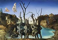 Dali, Salvador (1904-1989), Schw䮥 spiegeln Elefanten wider, ֬ auf Leinwand, 51x77, 1937, Spanien, Surrealismus, Privatsammlung, Schweiz, VG-Bild-Kunst Bonn | Dali, Salvador (1904-1989), Swans Reflecting Elephants, Oil on canvas, 51x77, Spain, 1937, Surrealism, Private collection, Schwitzerland, VG-Bild-Kunst Bonn  Credit: culture-images/fai  Persoenlichkeitsrechte werden nicht vertreten.  Verwendung / usage: weltweit / worldwide